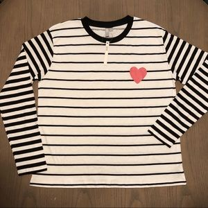 ASOS Top with Mix and Match Stripe and Heart Motif